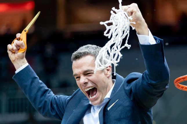 Coach Tony Bennett's Virginia Cavaliers won the last edition of the NCAA Division I men's basketball tournament in 2019, but face a challenge due to a positive COVID-19 test within the program as they head into their first-round game Saturday in Bloomington, Ind. File Photo by Bryan Woolston/UPI