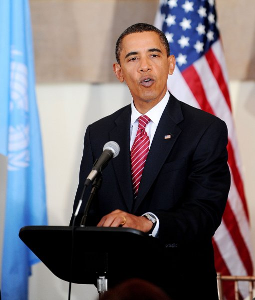 U.S. President Barack Obama addresses a luncheon at the United Nations in New York on September 23, 2009. UPI/Olivier Douliery/Pool
