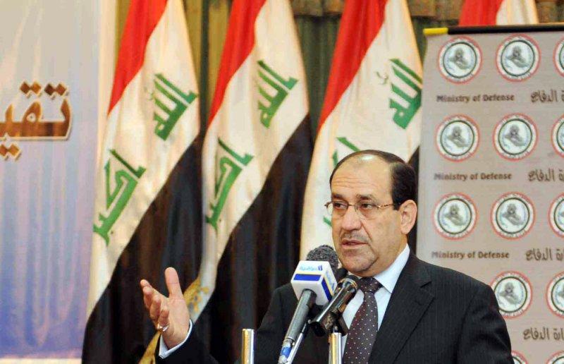Iraq's Prime Minister Nouri al-Maliki (C) speaks at a conference at the Iraqi Defense Ministry headquarters in Baghdad, Iraq on March 31, 2010. UPI/Ali Jasim