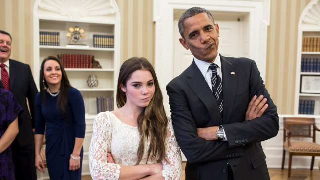 President Barack Obama jokingly mimics U.S. Olympic gymnast McKayla Maroney's not impressed look while greeting members of the 2012 U.S. Olympic gymnastics teams in the Oval Office, Nov. 15, 2012. UPI/Pete Souza/White House