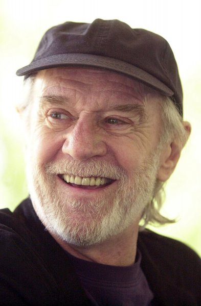 Comedian George Carlin died from heart failure in Santa Monica, California late July 22, 2008. He is shown in file photo during a radio interview in Forest Park in St. Louis, Missouri, May 8, 2001. (UPI Photo/Bill Greenblatt/Files)