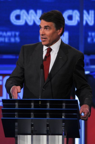 Republican presidential candidate Gov. Rick Perry speaks during the cnn/Tea Party Republican Debate held at the Florida State Fairgrounds, in Tampa, Florida on September 12, 2011. UPI/Christina Mendenhall..