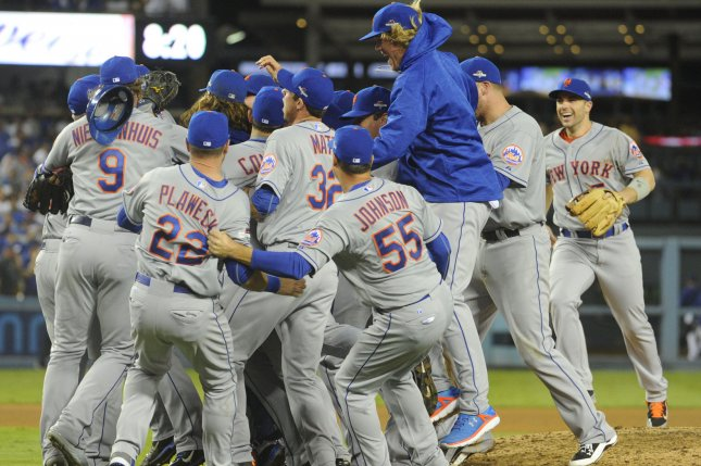 New York Mets celebrate their win over the Los Angeles Dodgers in game 5 of the National League Division Series at Dodger Stadium in Los Angeles on October 15, 2015. The Mets won 3-2..Photo by Lori Shepler/UPI