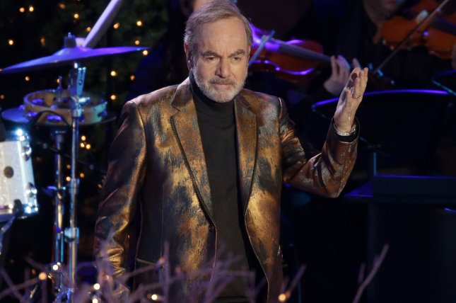 Neil Diamond performs at the annual Christmas Tree Lighting Ceremony at the Rockefeller Center in New York City on November 30. Diamond has announced a new world tour. Photo by John Angelillo/UPI