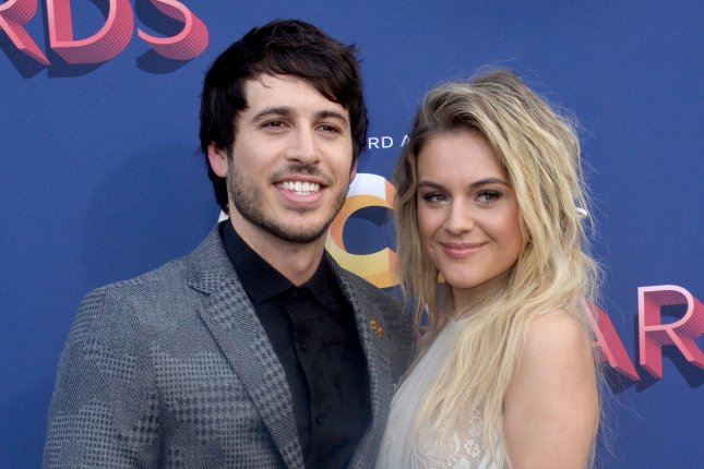 Kelsea Ballerini (R) and Morgan Evans attend the Academy of Country Music Awards on Sunday. Photo by Jim Ruymen/UPI