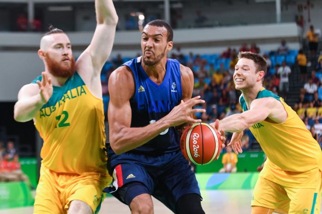 Utah Jazz center Rudy Gobert (C) tested positive for coronavirus before Wednesday's game against the Oklahoma City Thunder. File Photo by Richard Ellis/UPI
