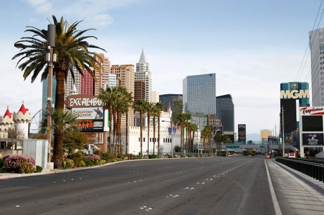Las Vegas Boulevard is near deserted during the coronavirus closure of hotels and casinos along the Las Vegas Strip on March 29. File Photo by James Atoa/UPI