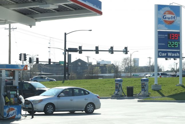 The gasoline index declined 3.5 percent in May, Wednesday's report said, and the national average is $2.07. File Photo by Bill Greenblatt/UPI