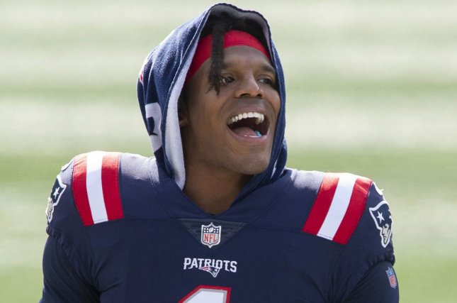 New England Patriots quarterback Cam Newton had two rushing touchdowns in a win over the New York Jets on Monday in East Rutherford, N.J. File Photo by Matthew Healey/UPI