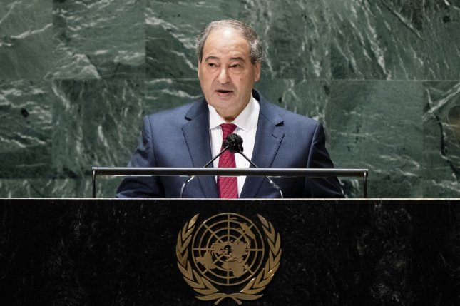 Syria's foreign minister Faisal Mekdad addresses the 76th Session of the United Nations General Assembly on Monday. Photo by John Minchillo/UPI