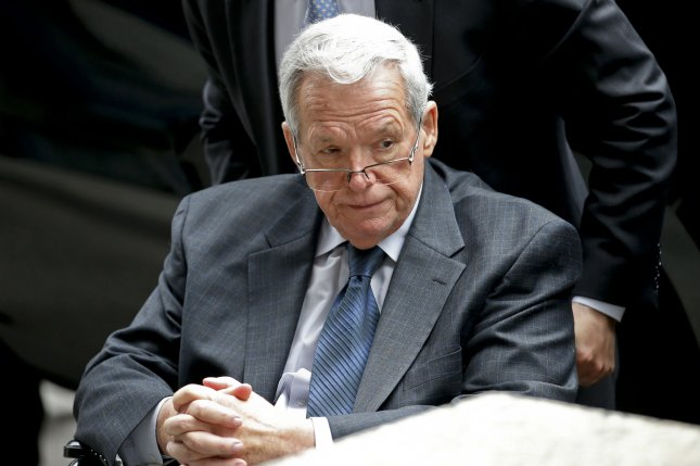 Former Illinois congressman and U.S. House Speaker Dennis Hastert leaves federal court after his sentencing hearing in Chicago, Ill., on April 27, 2016. Wednesday, the former politician reported to prison in Minnesota where he will serve his 15-month sentence related to bank fraud and sexual molestation allegations. File Photo by Kamil Krzaczynski/UPI