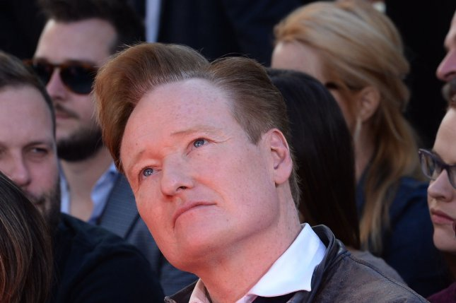 Television talk show host Conan O'Brien attends The Hunger Games: Mockingjay -- Part 2 cast hand and footprint ceremony in Los Angeles on October 31, 2015. File Photo by Jim Ruymen/UPI