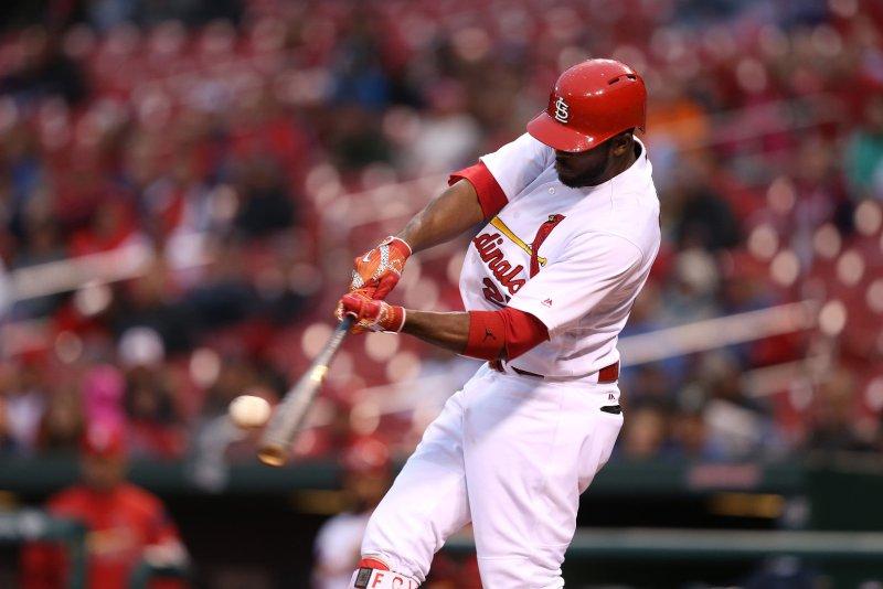 St. Louis Cardinals center fielder Dexter Fowler connects with the ball. File photo by Bill Greenblatt/UPI