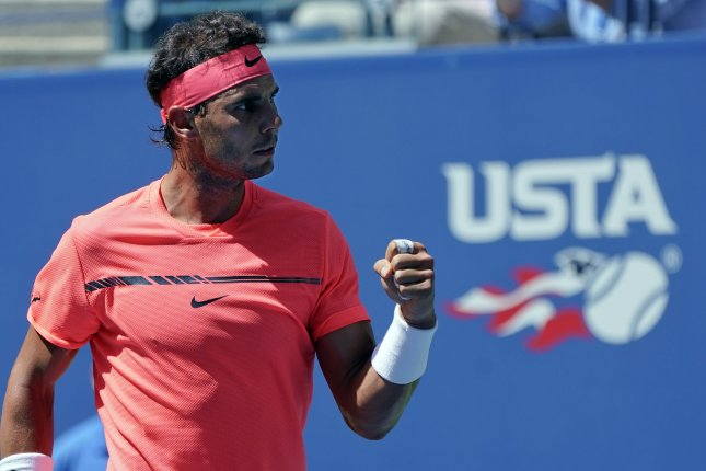 Rafael Nadal of Spain reacts after making a point against Alexandr Dolgopolov of Ukraine during their 4th round match in Arthur Ashe Stadium at the 2017 US Open Tennis Championships at the USTA Billie Jean King National Tennis Center in New York City on September 4, 2017. Photo by Ray Stubblebine/UPI
