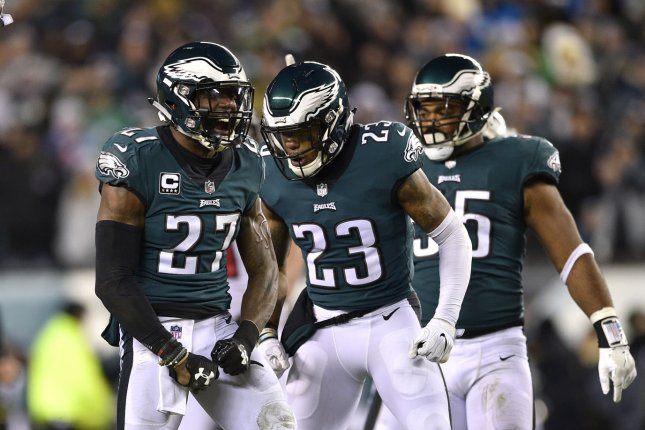 Philadelphia Eagles safety Malcolm Jenkins (27) reacts after a tackle with  Rodney McLeod (23) during the second quarter of an NFC divisional playoff  game ... efbfa4598
