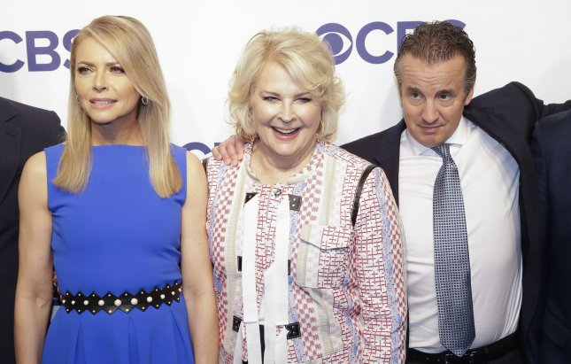 Left to right, Faith Ford, Candice Bergen and Grant Shaud from Murphy Brown arrive on the red carpet the 2018 CBS Upfront on Wednesday in New York City. Photo by John Angelillo/UPI