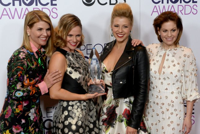 Andrea Barber (second from left), pictured with Lori Loughlin, Jodie Sweetin and Candace Cameron Bure, was fêted on her birthday Tuesday. File Photo by Jim Ruymen/UPI