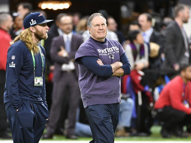 New England Patriots head coach Bill Belichick arrives for warm ups before playing the Philadelphia Eagles in Super Bowl LII at U.S. Bank Stadium in Minneapolis, Minnesota on February 4, 2018. Photo by Brian Kersey/UPI