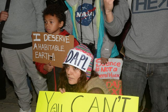 A group of protesters gathered to rally against President Donald Trump's actions in support of the Dakota Access and Keystone pipelines at the Federal Building Los Angeles in 2017. On Thursday, an appeals court ruled in the Trump administration's favor regarding moving the Keystone pipeline forward. File Photo by Jim Ruymen/UPI