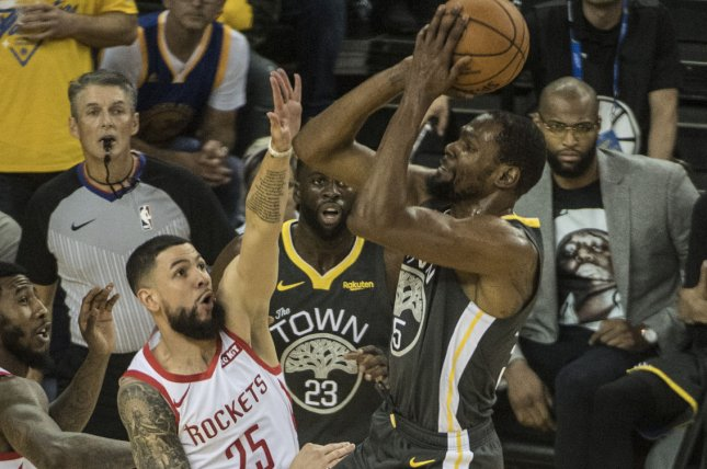 Golden State Warriors forward Kevin Durant (35) hasn't played since Game 5 of the Western Conference semifinals against the Houston Rockets. File Photo by Terry Schmitt/UPI