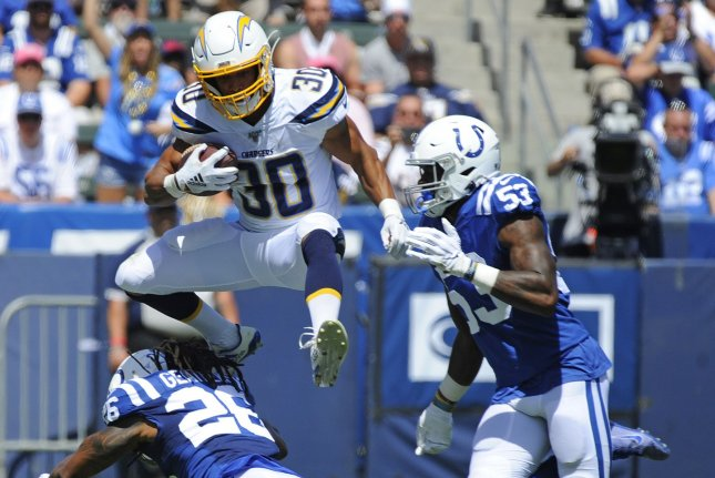 Los Angeles Chargers running back Austin Ekeler (30) has a league-high six touchdowns in four starts this season. He is expected to return to a backup role once Melvin Gordon is fully reintegrated into the Chargers' offense. Photo by Lori Shepler/UPI