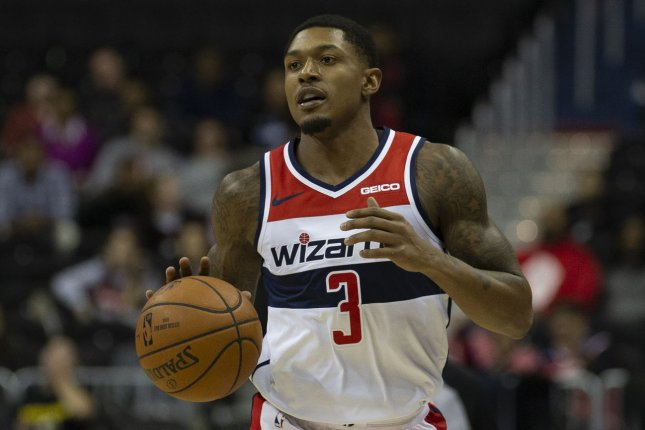 Washington Wizards guard Bradley Beal scored a career-high 60 points, but made just one shot in the fourth quarter in a loss to the Philadelphia 76ers on Wednesday in Philadelphia. File Photo by Alex Edelman/UPI