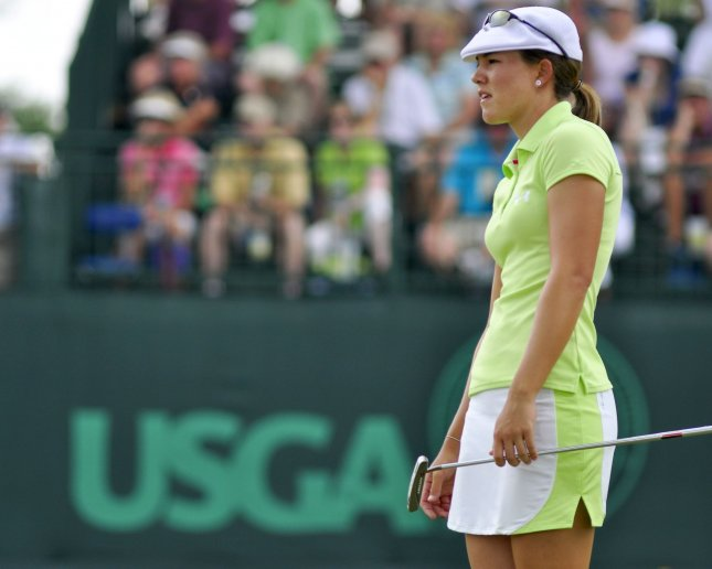 Vicky Hurst, shown in a tournament earlier this year, was tied for the lead after Friday's first round of the LPGA's tournament in Incheon, South Korea. UPI/Archie Carpenter