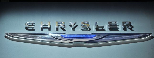 The Chrysler logo is displayed at the 2013 North American International Auto Show in Detroit on January 14, 2013. UPI/Brian Kersey