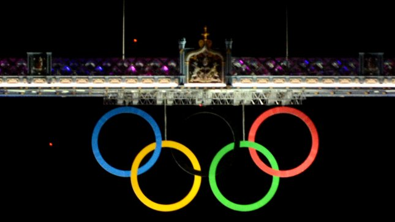 The Olympic Rings adorn Tower Bridge in London. UPI/Pat Benic