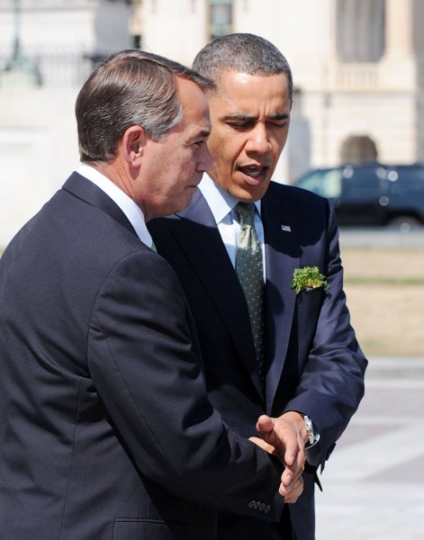 Speaker of the House John Boehner (D-OH) and U.S. President Barack Obama leave the U.S. Capitol after a St. Patrick's Day luncheon on March 17, 2011 in Washington. UPI/Olivier Douliery/POOL