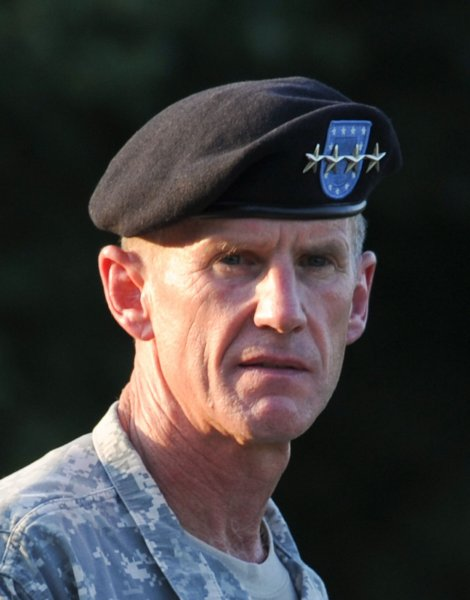 Retired Army Gen. Stanley McChrystal speaks at his retirement ceremony at Fort McNair in Washington on July 23, 2010. UPI/Alexis C. Glenn