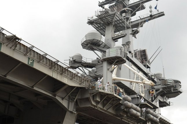 In a warning to North Korea the Nimitz-class nuclear-powered supercarrier, the USS Ronald Reagan, took part in joint drills around the Korean peninsula on Monday. File Photo by Keizo Mori/UPI