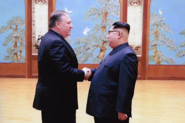 Then CIA director Mike Pompeo meets with North Korean leader Kim Jong Un in Pyongyang, North Korea, over Easter weekend. Pompeo requested the release of U.S. detainees in North Korea during the visit. Photo courtesy of the White House/UPI