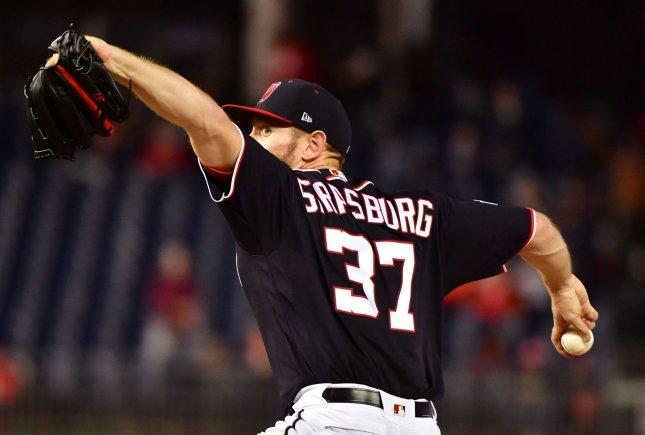 Stephen Strasburg and the Washington Nationals face the Miami Marlins on Sunday. Photo by Kevin Dietsch/UPI