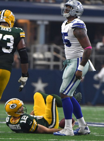 Dallas Cowboys lineman David Irving celebrates after sacking Green Bay Packers quarterback Aaron Rodgers during their game in October. Photo by Ian Halperin/UPI