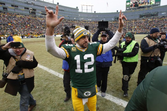 Green Bay Packers quarterback Aaron Rodgers owns a 64-17-1 record in home games and a 40-44 record in road games during his NFL career. File Photo by Jeffrey Phelps/UPI