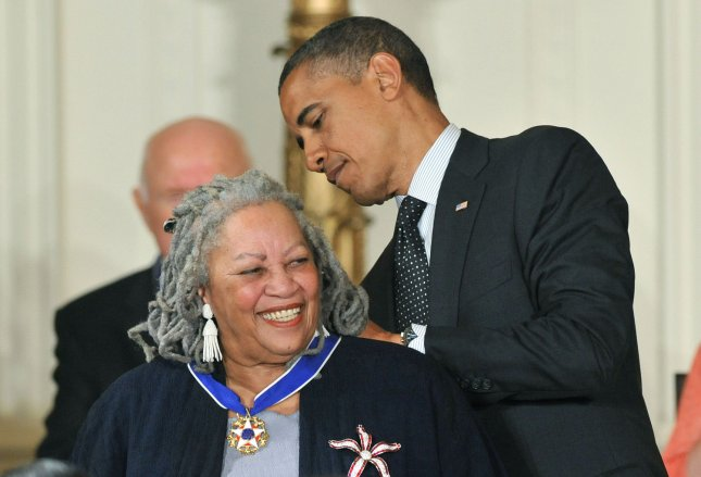 President Barack Obama awards the the Presidential Medal of Freedom to author Toni Morrison during a ceremony in the East Room at the White House in Washington on May 29, 2012. The Medal of Freedom is our Nation's highest civilian honor, presented to individuals who have made especially meritorious contributions to the security or national interests of the United States, to world peace, or to cultural or other significant public or private endeavors. UPI/Kevin Dietsch