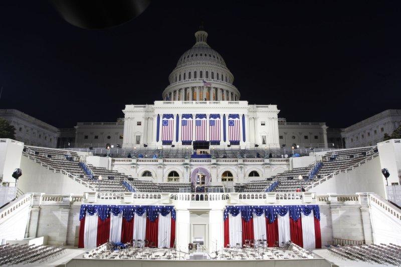The U.S. Capitol is illuminated the night before he Inauguration of U.S. President-elect Barack Obama in Washington on January 19, 2009 (UPI Photo/Scott Andrews/Pool)