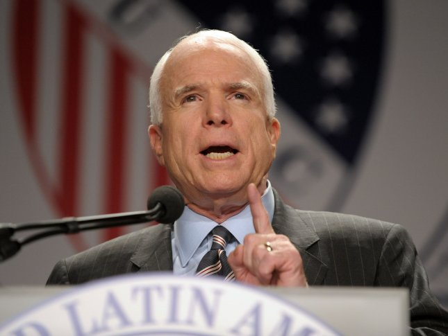 Presumptive Republican presidential nominee Sen. John McCain, R-AZ, speaks to The League of United Latin American Citizens' (LULAC) 79th Annual National Convention and Exposition in Washington on July 8, 2008. (UPI Photo/Roger L. Wollenberg)