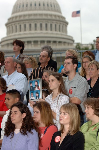 Supporters of MADD (Mothers Against Drunk Driving) attend a news conference across the street from the U.S. Capitol building on Sept. 29, 2005. MADD, celebrating it's 25th year, announced the results of a Gallup poll which shows the public supports continuing crackdowns on drunk driving. (UPI Photo/Roger L. Wollenberg)