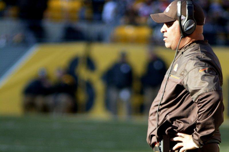 Cleveland Browns head coach Hue Jackson. File photo by Archie Carpenter/UPI