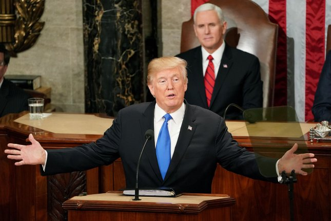 President Donald Trump delivers his State of the Union address to a joint session of Congress in the House Chamber at the U.S. Capitol in Washington, DC on January 30, 2018. Photo by Kevin Dietsch/UPI