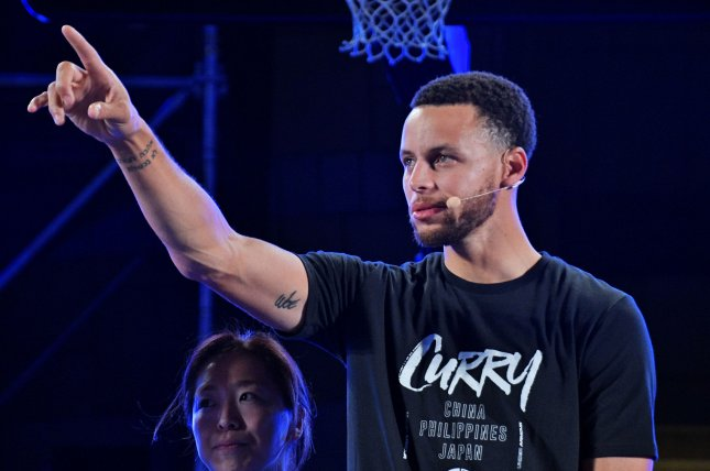 Golden State Warriors guard Stephen Curry attends an Under Armour event on September 11 in Tokyo. Photo by Keizo Mori/UPI