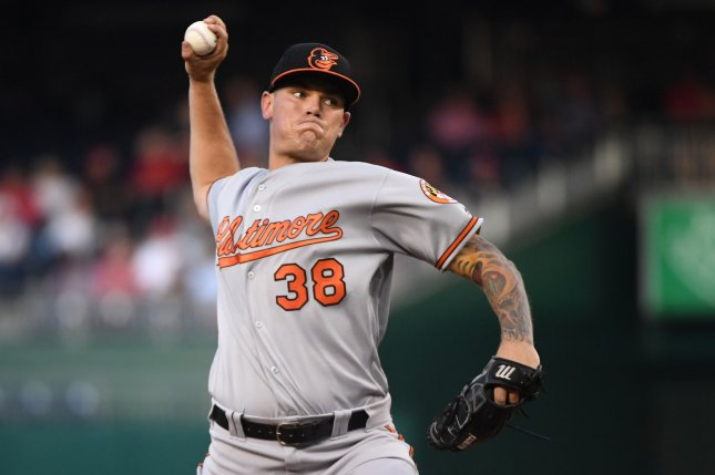 Baltimore Orioles starting pitcher Aaron Brooks picked up his fourth win of the season after allowing just two hits in six innings against the Washington Nationals Tuesday in Washington, D.C. Photo by Kevin Dietsch/UPI