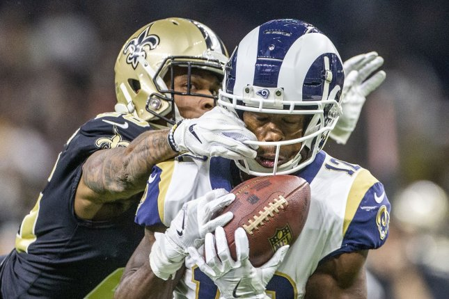 Los Angeles Rams wide receiver Brandin Cooks (12) caught 122 passes for 1,787 yards and seven touchdowns in two seasons with the Rams. File Photo by Mark Wallheiser/UPI