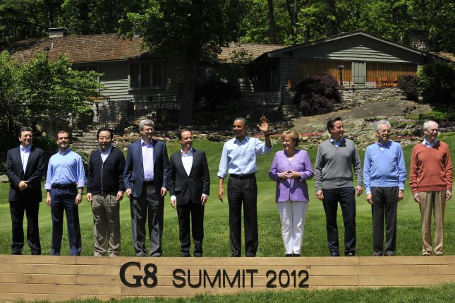 The state leaders pose for a family photo during G8 Summit in Camp David, Md., in 2012. The G7, down one nation after Russia was expelled last year, will meeting Japan next week to discuss international issues. File photo/UPI