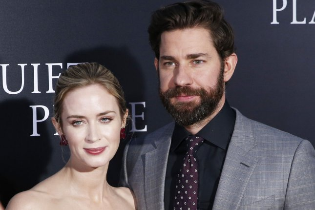 A Quiet Place star John Krasinski (R) with his wife Emily Blunt. Paramount has announced a sequel to A Quiet Place. Photo by John Angelillo/UPI