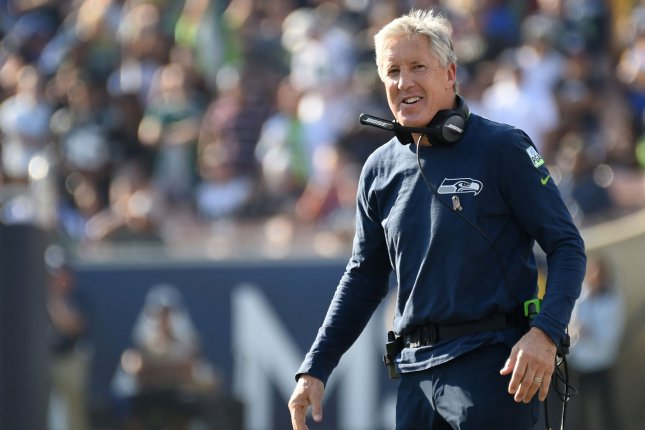 Coach Pete Carroll led his Seattle Seahawks to a win over the Green Bay Packers on Thursday night. Photo by Jon SooHoo/UPI