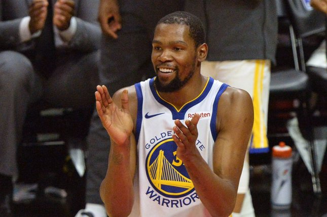 Golden State Warriors forward Kevin Durant hasn't played since May 8, when he sustained a calf strain in Game 5 of a Western Conference semifinals series against the Houston Rockets. File Photo by Jim Ruymen/UPI