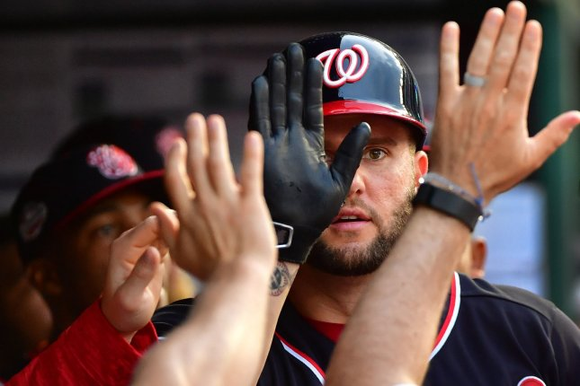 Washington Nationals first baseman Matt Adams is now hitting .250 with 11 home runs and 32 RBIs this season after going 1-for-5 with a three-run homer against the Miami Marlins Wednesday in Miami. File Photo by Kevin Dietsch/UPI